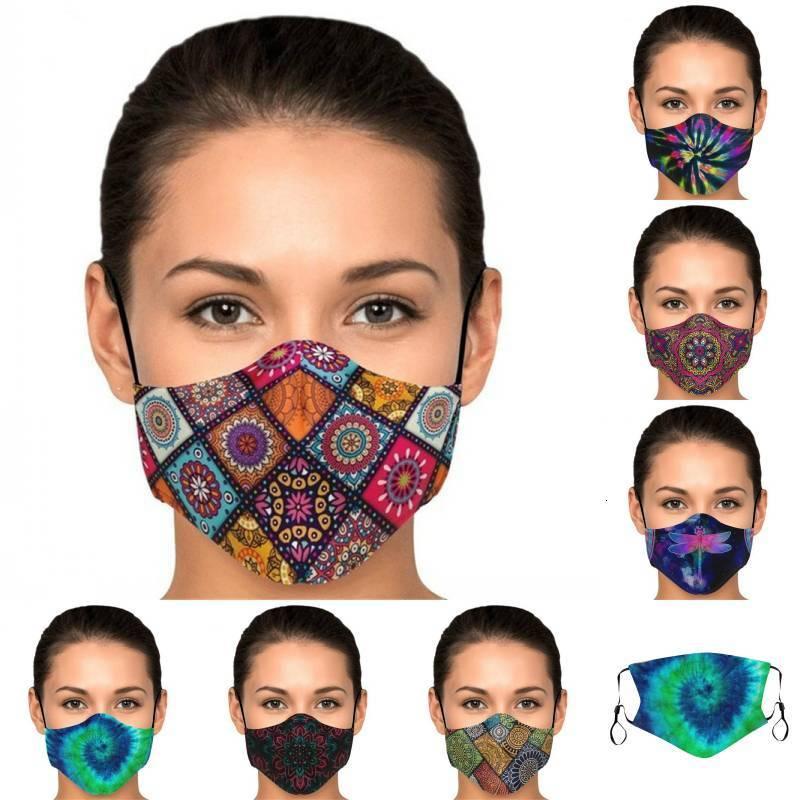 Réutilisable DHL Expédition Respirable Unisexe Toile Protecteur Poubelle Poubelle Couvercle de mode Masques lavables Imprimer Masque coupe-vent Kimter-Z