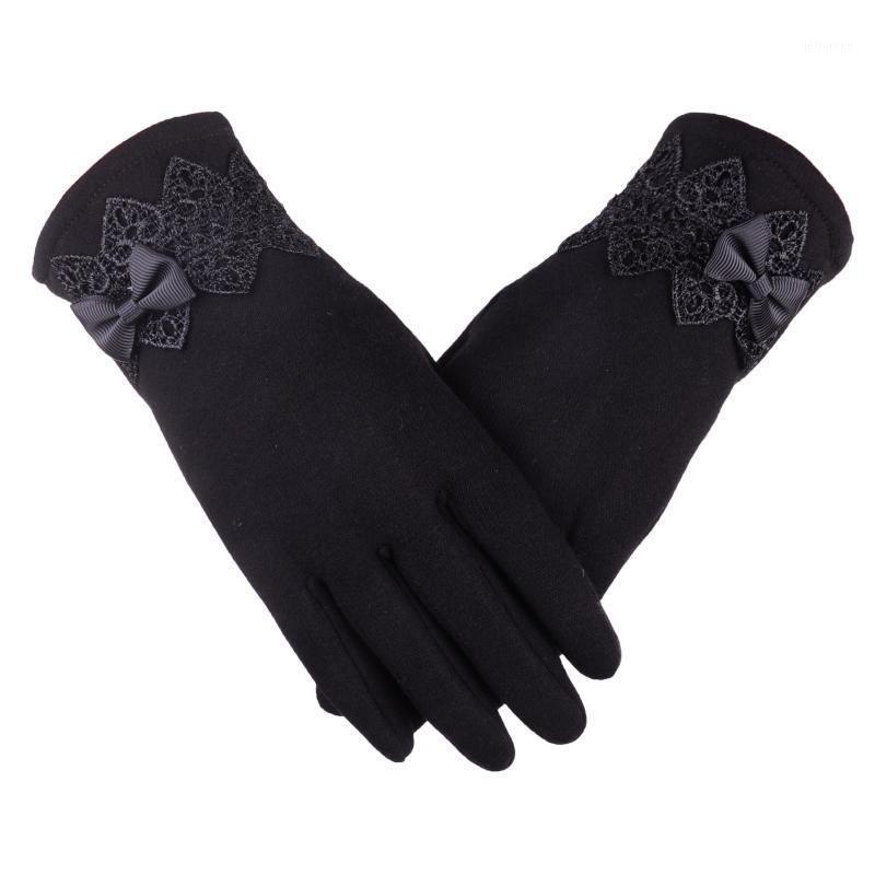 Eldivenler Kadın Kış Warmcotton Glovesmittenswomen'in Glovbowknot Kış Eldivenleri Sıcak Mittens1 Tutmak için Kadife Ekleyin1