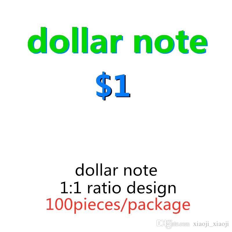 Copier le papier Faux Money Fake Money Paper Prop Prop appuis de l'argent des jouets US 1 Dollar Copy Kid 100pcs / Pack Billet Bille Bille Billets de billets 10 Awft