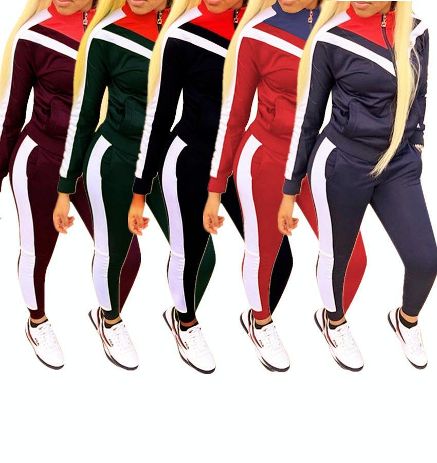 Frauen Mode Kleidung Die neue Auflistung Freizeitanzug Farbblock Splicing Sports Trainingsanzüge Stil Langarm Zwei Teil Set Jogginganzüge