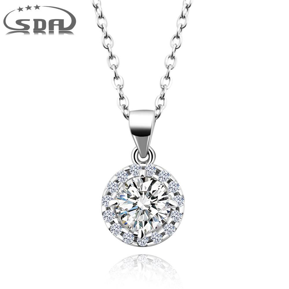 SDA Classic Silver Rose Gold Round Necklace Pendants for Female Gift 100% 925 Sterling Silver Jewelry with 3A Stones
