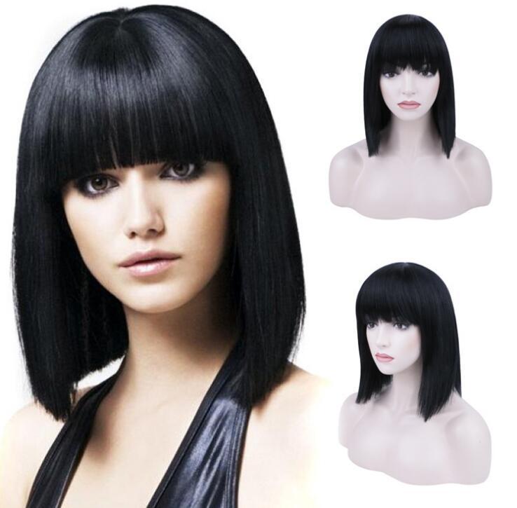 Livraison Gratuite Europe et les États-Unis Net Bob sont noirs Courts courts droit Synthétique Synthetic Wigs Filet de fil à haute température