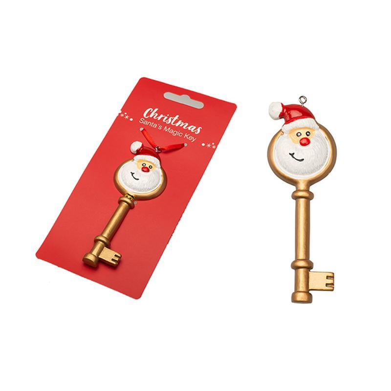 الراتنج عيد الميلاد سانتا كلوز المفاتيح مفتاح زخرفة عيد الميلاد الحلي سلسلة الأحمر الذهبي مفتاح قلادة هدية عيد الميلاد