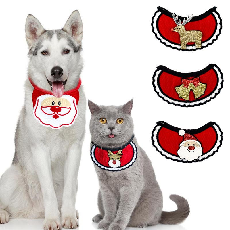 Dogs Bibs Christmas Dog Bandana Pet Supplies Accessories For Dogs Scarf Pets Puppy Appare Accesorios Elk Hair Ornaments w-00467