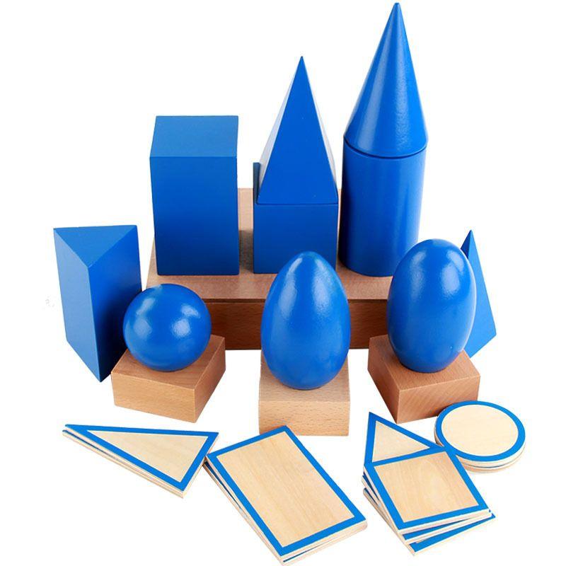Büyük 3D Şekiller Geometrik Katılar Ahşap Montessori Geometri Seti Oyuncaklar Matematik Oyunları Oyuncaklar Blokları Çocuklar Okul Öncesi Öğrenme Oyuncaklar Hediyeler C0119