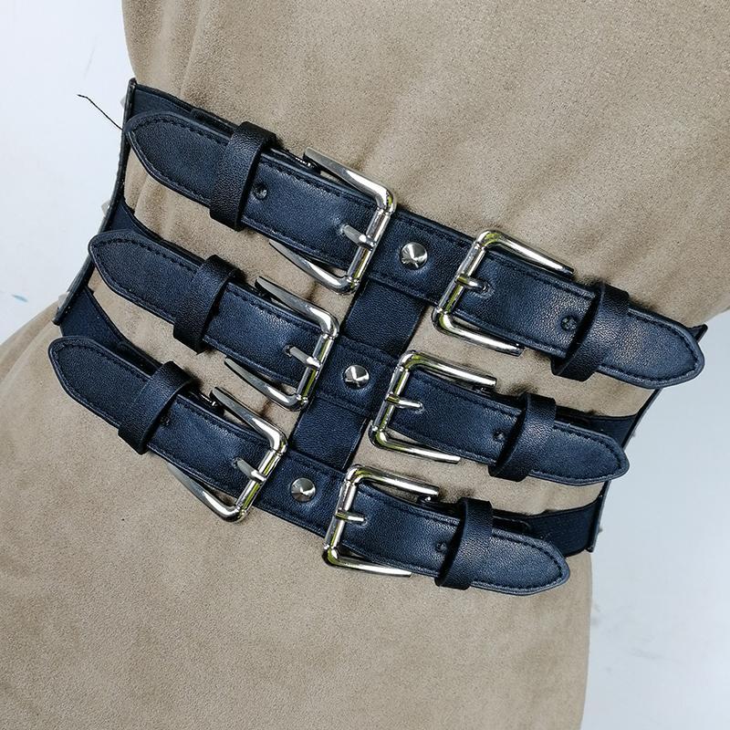 Больше корсет Размер Широкий Cummerbund Эластичный носилок, одетый в ремни для готического дизайнера Женщины CEINTURE FEMME Большой пояс Mujer