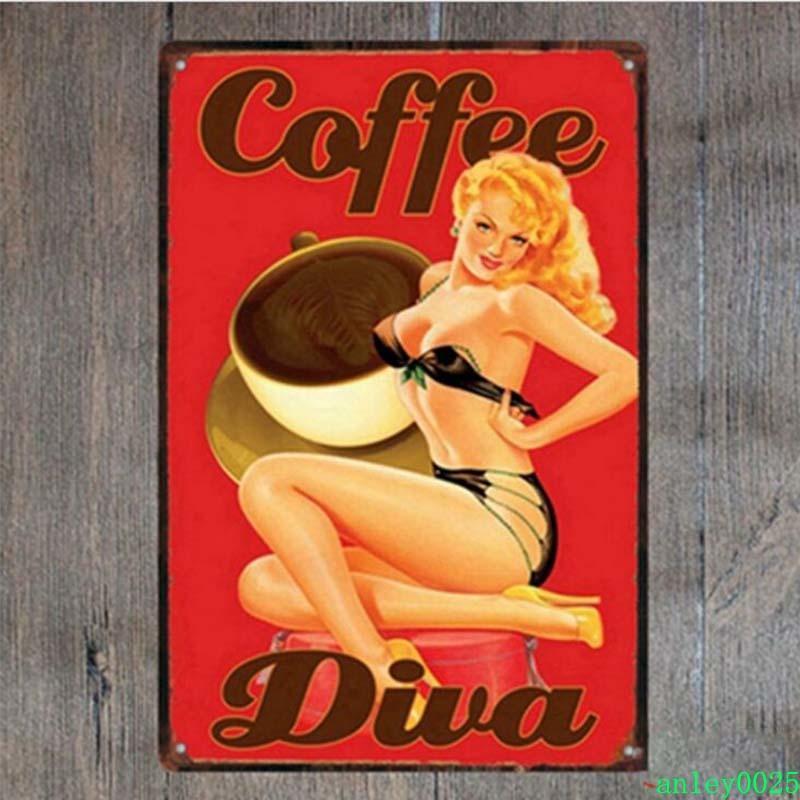 Decorazione della parete della pittura del ferro retrò per il negozio del caffè del negozio del caffè della caffetteria del negozio di caffè dell'annata Piastra di latta d'annata Alley0025