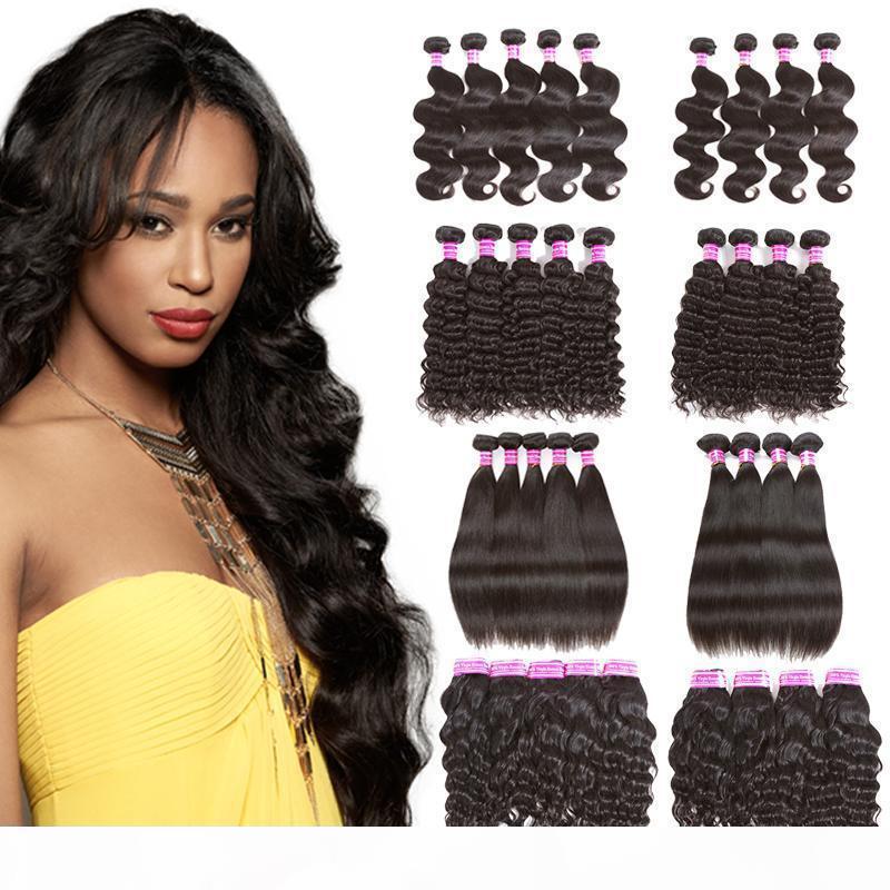 Venta al por mayor barato brasileño brasileño vello virginal onda rizado rizado agua recta 4 paquetes o 5 paquetes Remy Human Hair Weaves