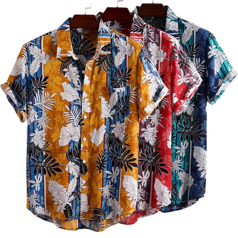 Camicie casual da uomo in cotone + rayon Mens Stampato Turn Down Collar manica corta Hawaii Beach Shirt Leaf Leaf Stampa uomo Estate 2021