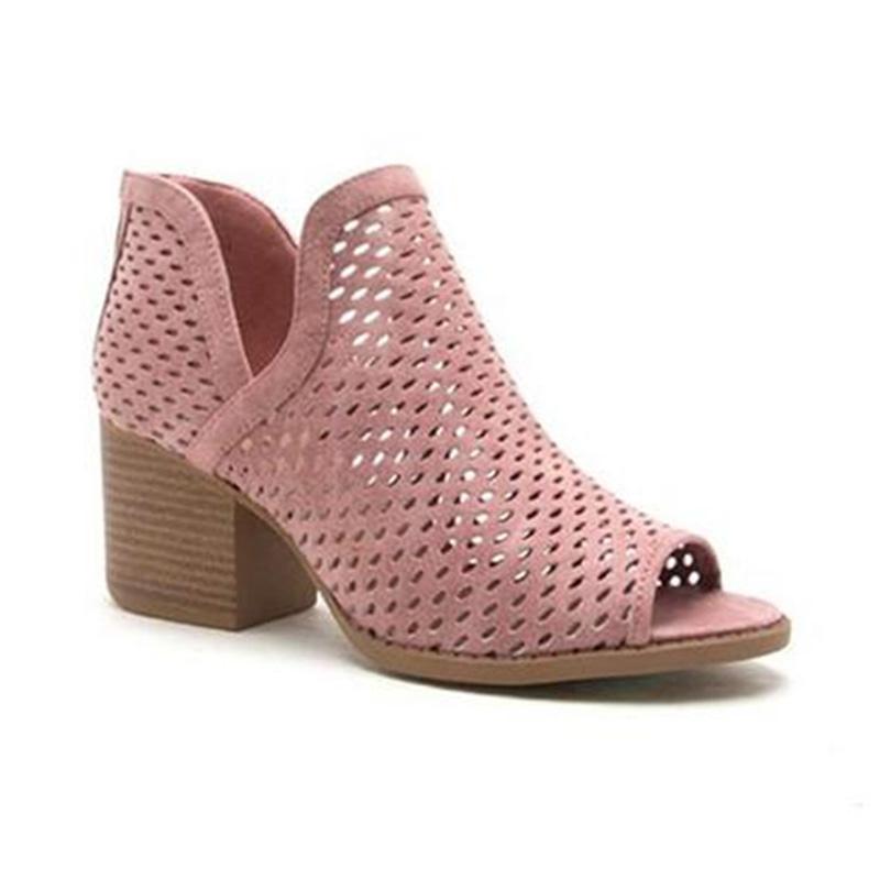 Vendita calda-2019 New Fashion Summer Sandals Sandals Hollow PU PU Med Tacco spesso talloni Peep Toe Scarpe Donna Casual Elegante Signora Pompe Plus