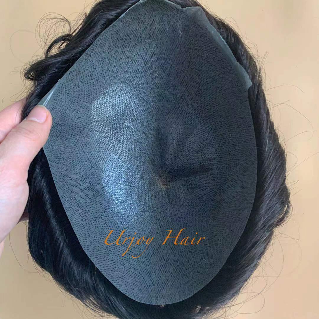 Brasilianisches Human-Haar-Ersatz, der dünnes Hauttoupetet für Männer schnell ausdrücklich liefert