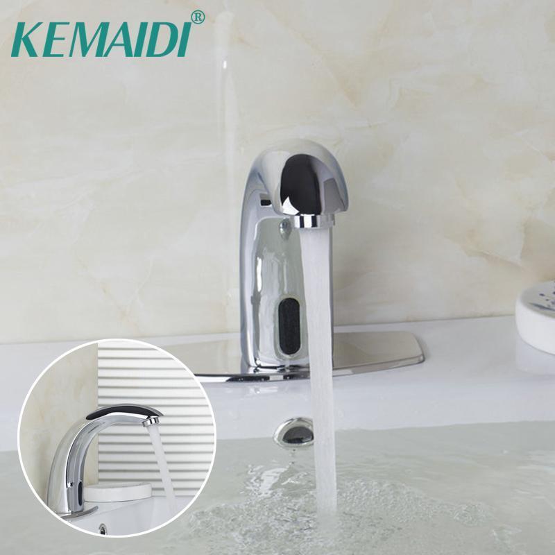 Faucets de lavabo de baño Kemaidi montado en cubierta sin toques de infrarrojos de tacto con sensor automático, mezclador de agua del grifo del sensor
