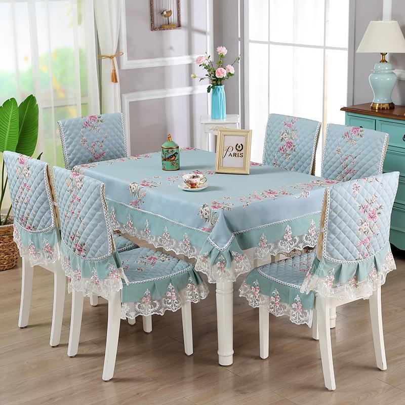 Breve tela breve estilo pastoral mantel cubierta de silla impresión floral encaje rectángulo cocina cena asiento almohadilla trasero tapete1