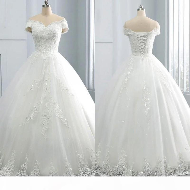 2021 Stunning V-Neck Winter Lace Wedding Dresses Appliques Plus Size Off the Shoulder Ball Gown Custom Vestido de novia Formal Bridal Gown