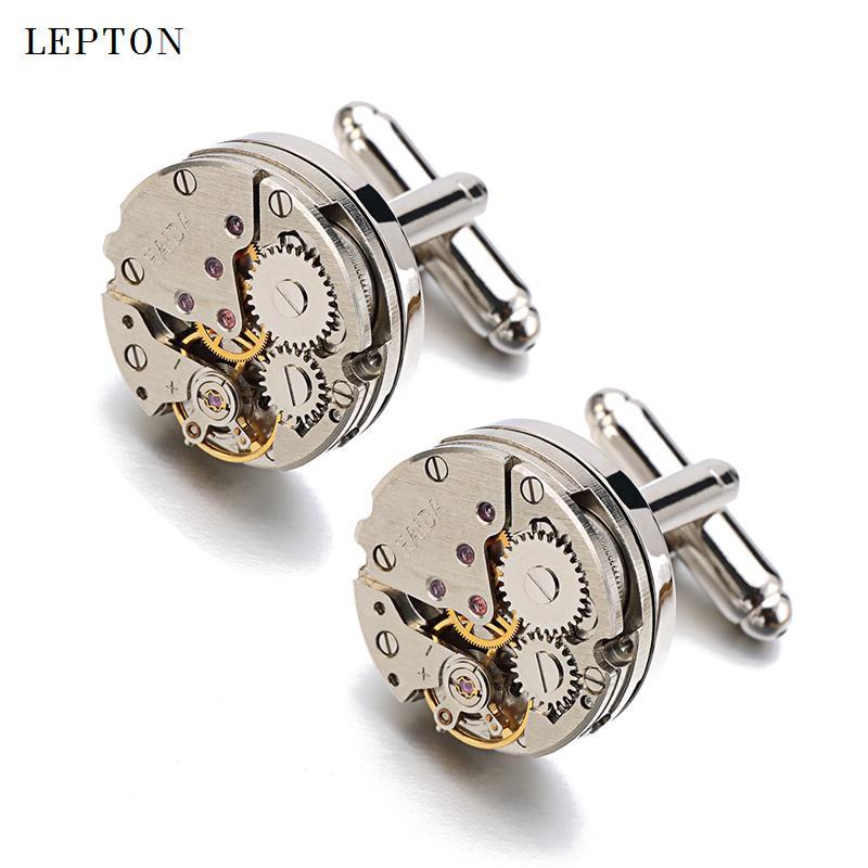 Hot Sale Non-Functional Watch Movement Cufflinks for men stainless steel Steampunk Gear Watch MechanismCuff links for Mens 201120