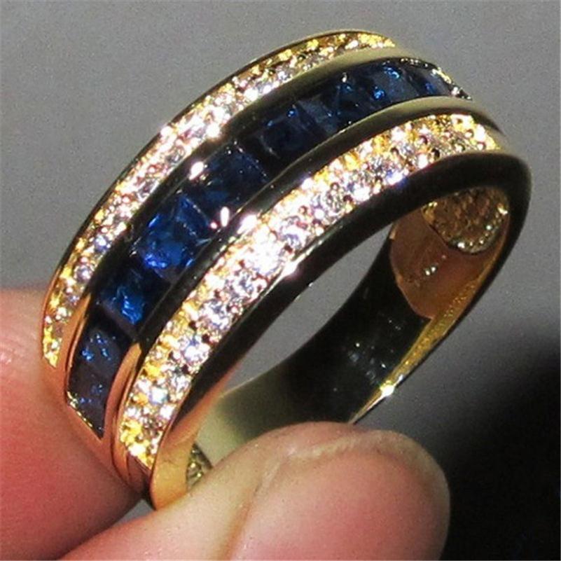 Anello con zaffiro pieno di diamante per le donne in oro 18 carati Bague o Jaune Bizuteria per gioielli Anelli Anillos Gemstone Anel gioielli anello in oro Z1121