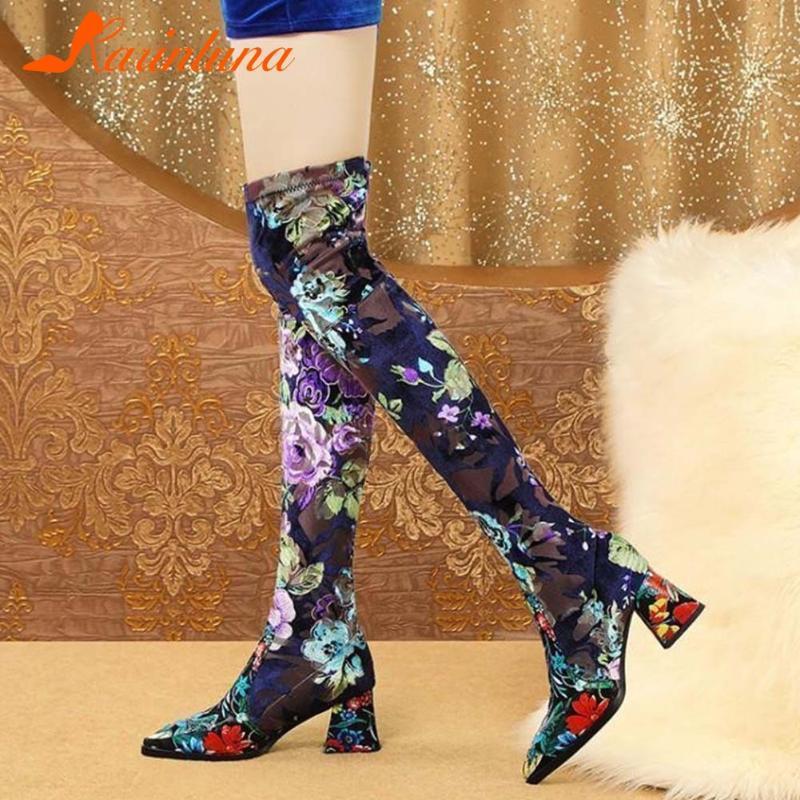A estrenar Moda Leiusre Zapatos de Mujeres Flor Nacional Punto de punta Ethnic Chunky Heels Flock Musigh Botas altas Calzado