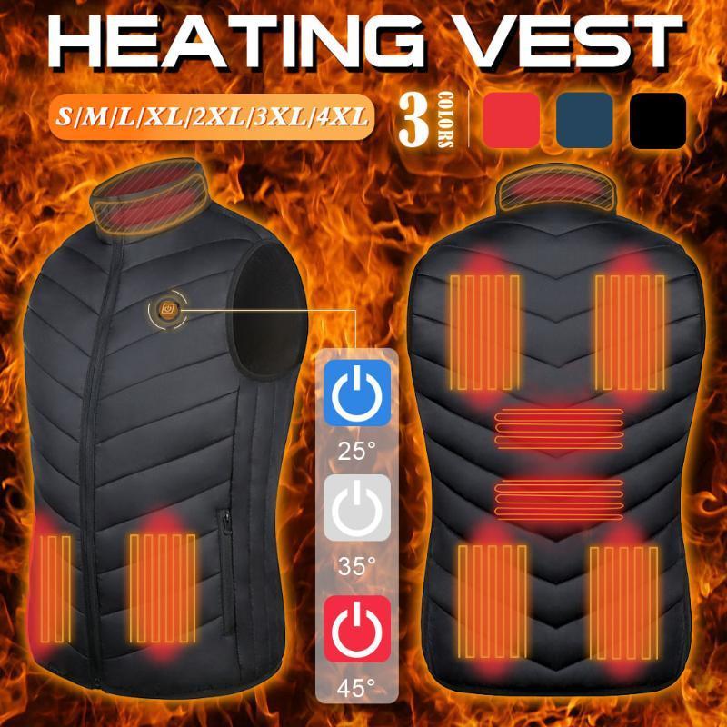 Colete aquecido jaquetaelectrically aquecida jaqueta sem mangas viagens de viagem ao ar livre para passeios de caça ao ar livre