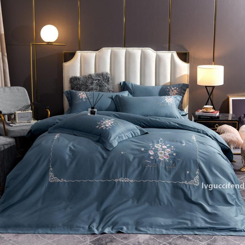 Flores bordado ropa de cama azul lecho Rey cama matrimonial sábanas de algodón egipcio funda nórdica hoja de cama Set de fundas de almohada