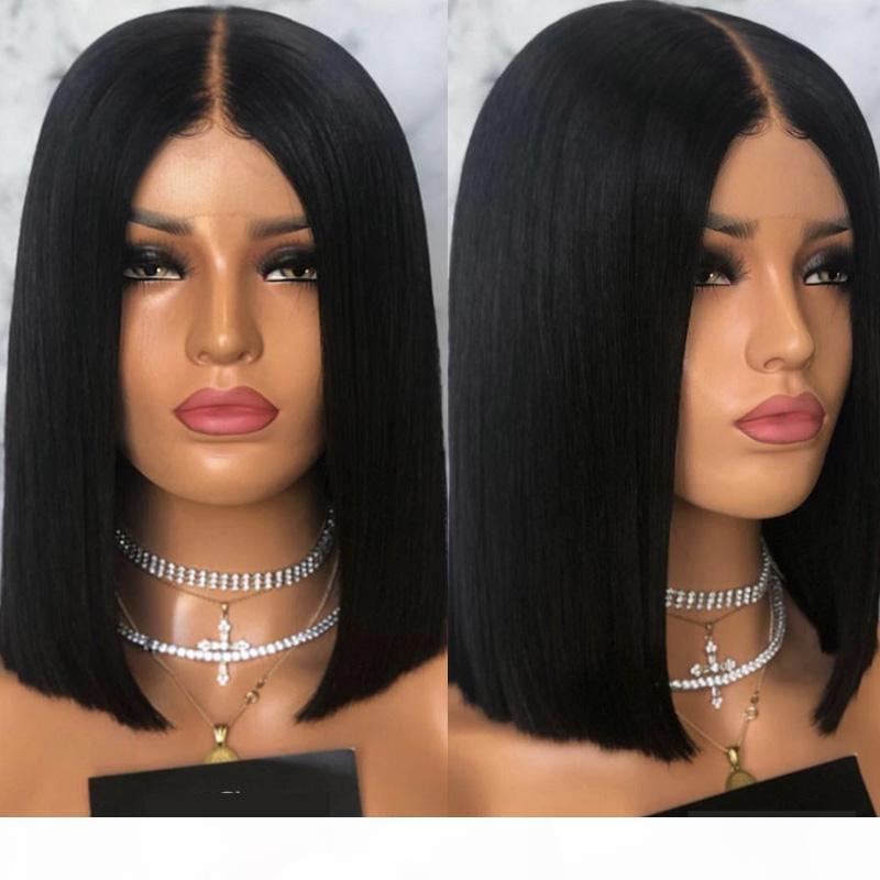 Luffyhair mittlerer teil bob menschliches haar spitze frontperücke brasilianer remy kurze bob schnitt 5x5 seidengrund spitze frontperücken mit babyhaare