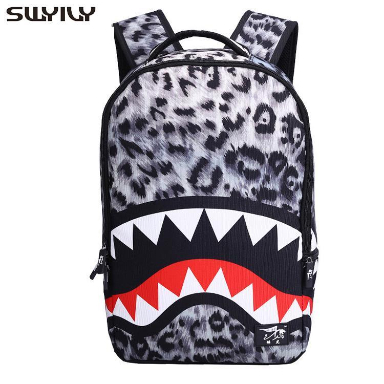 Swyivy backbag امرأة طلاب المدارس الثانوية الكتف حقيبة القرش 2019 الخريف جديد ليوبارد حقائب الظهر المدرسية الحقائب المدرسية للمراهق A1113