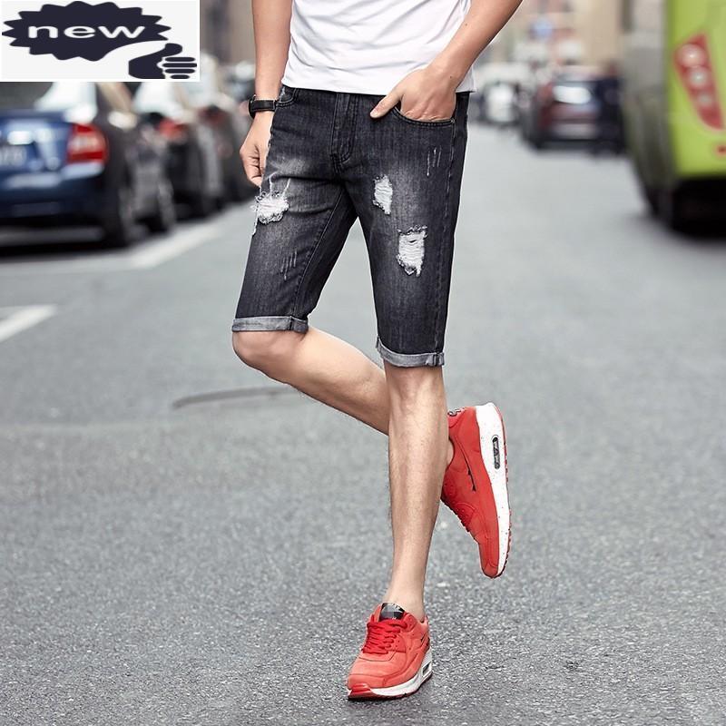 Jeans da uomo 2021 Summer Mens Denim Shorts Hole strappato Cowboy Streetwear Big Boy Ginocchio Slim Fit Breve taglia 28-36 Pantaloni casual