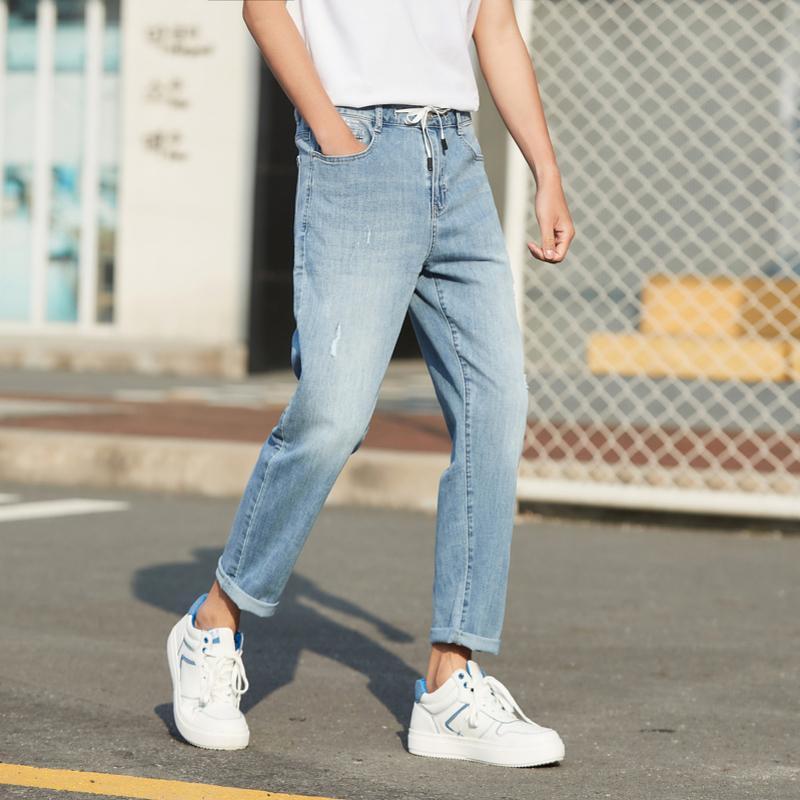 Semir Summer Jeans Men 2020 NUEVO Cómodo cordón Cintura Cintura Corta Pantalones de Agujero Trendy Q0109
