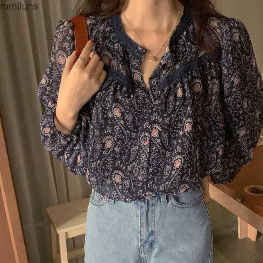 Шикарные круглые шеи одиночные кружева сшитые корейской флористической рубашкой блузка
