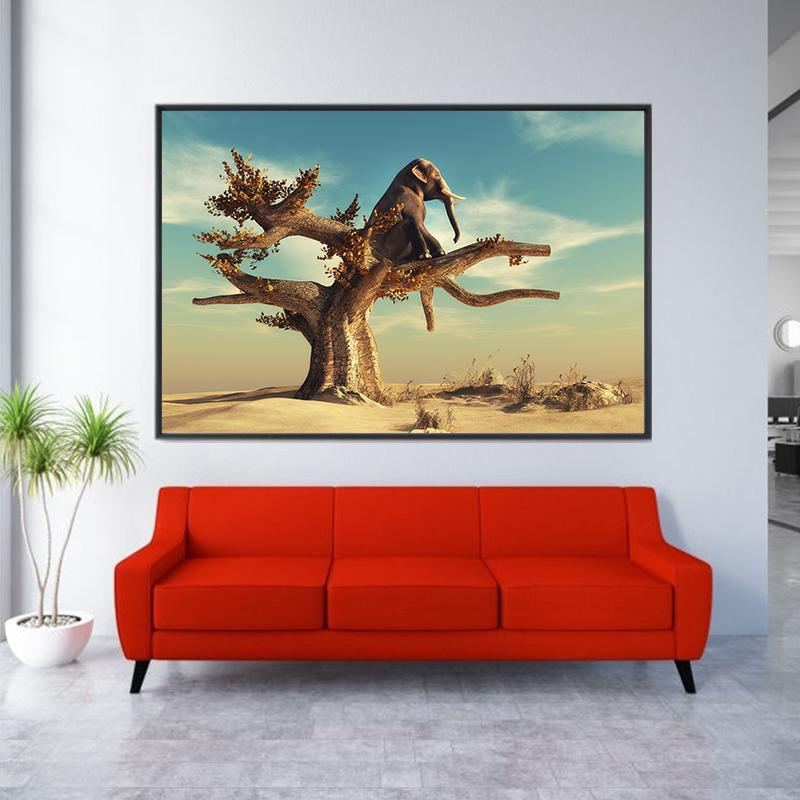 Funny Elephant Sitting on Tree Animal Canvas Painting Posters and Prints Nordic Wall Art Pictures for Home Decor Cuadros