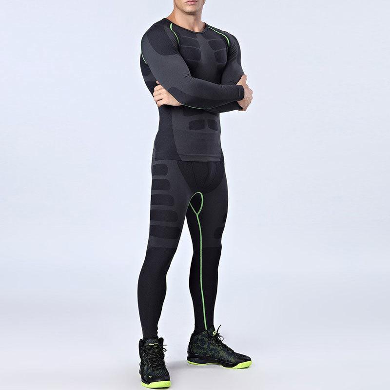 Establece la rápida ejecución de los hombres de tintorería 2 piezas únicas / juegos Trajes de compresión Medias hombres de los deportes de baloncesto ropa de gimnasio de fitness Sendero Sportswear