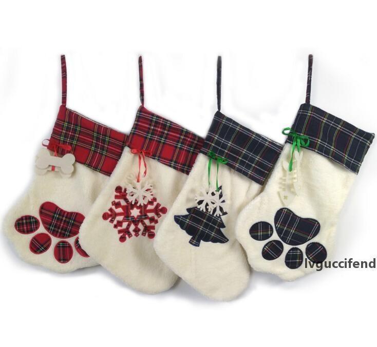 Christmas suspendu Suspensation Chaussettes Bear Paw Snowflake Chaussettes Arbre De Noël Ornements Décoration De Noël Accueil Décoration CFYZ12