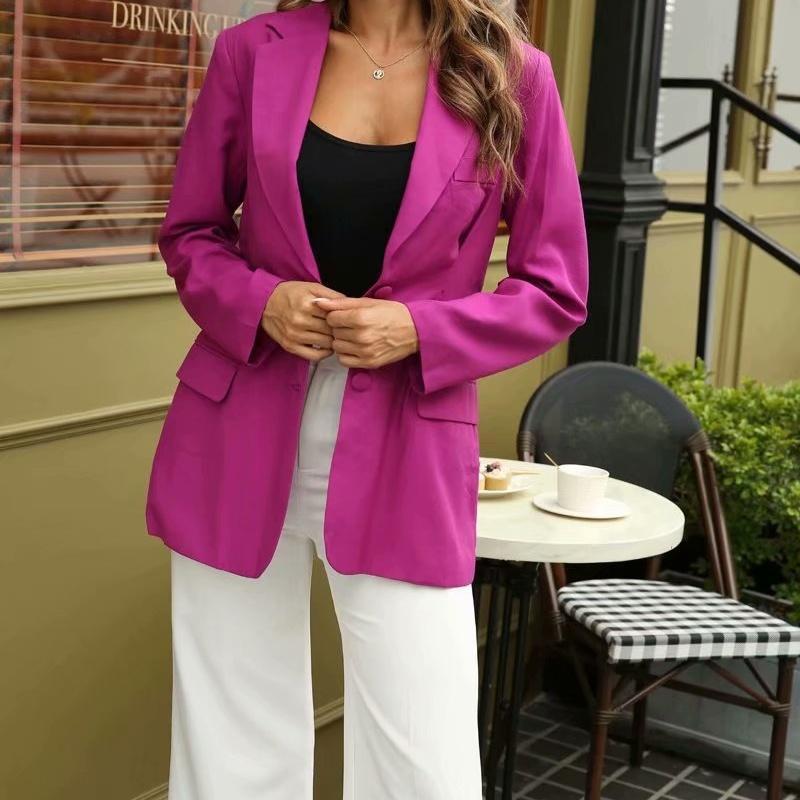 ZXQJ Kadınlar 2020 Moda Tek Göğüslü Gevşek Uydurma İnce Bel Blazer Ceket Vintage Uzun Kollu Cepler Kadın Giyim Üst