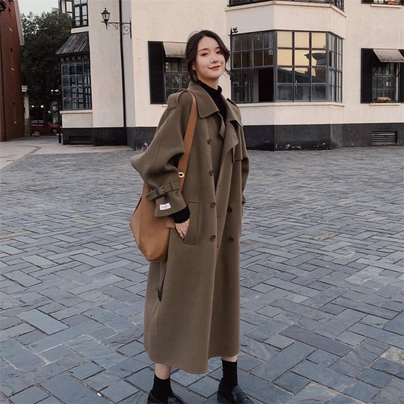 Manteau de laine de cachemire verte Vintage Armée Vêtements femme à manches longues à manches longues à double boutonnage de laine à double boutonnage