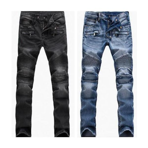 Hommes en détresse déchiré Skinny Jeans Fashion Hommes Jeans Mince Moto Moto Moo Moo Causal Hommes Pantalon Hip Hop Men Jeans