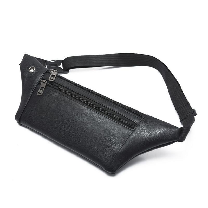 Men PU Leather Belt Bum Waist Pouch Fanny Pack Crossbody Shoulder Sport Zip Bag Small Waist Bag Leather Pouch