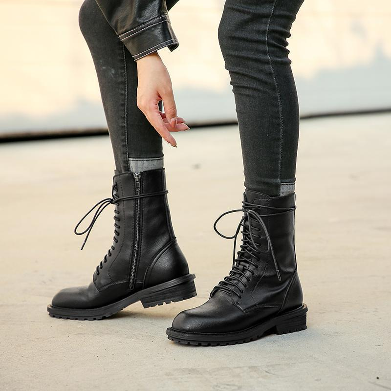 2020 Cinta de couro de inverno com salto as botas femininas zíper lateral ao ar livre liso liso camada de vaca malha vermelho boots1