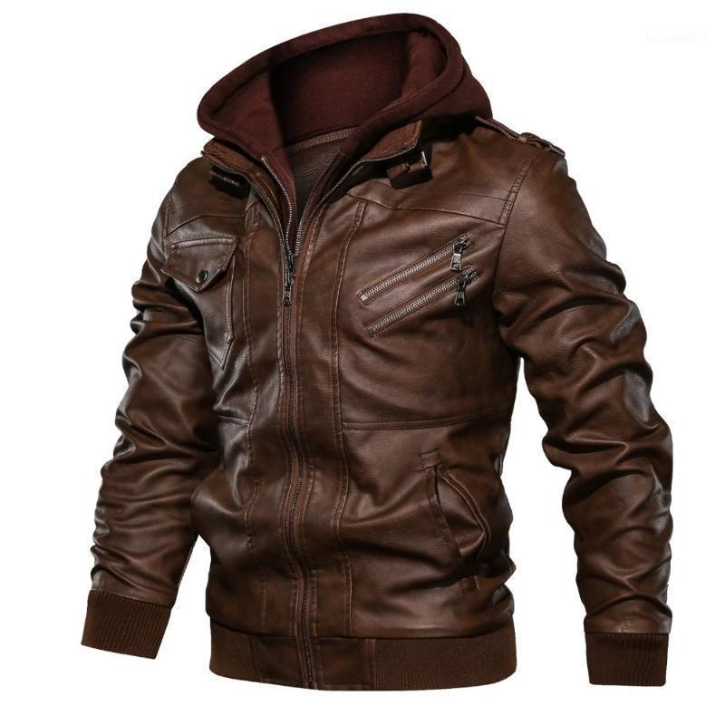 Chaquetas para hombres 2021 Cuero para hombre Casual Motorcicleta PU Jacket Biker Vintage Abrigos Multi-bolsa Bomber Jacket1