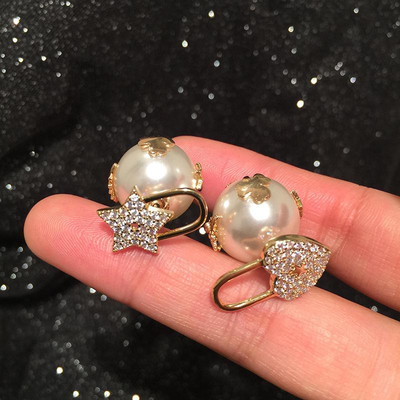 Yeni Moda Lüks Tasarımcı Güzel Güzel Arı Elmas Yıldız Kalp Inci Çift Taraflı Saplama Küpe Kadın Kızlar için 925 Gümüş Post