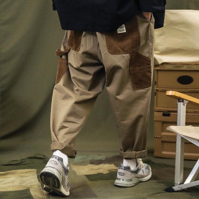 Calças de carga de patchwork homens corduroy contraste costume calças mil streetwear solto casual calças1