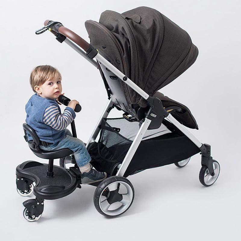 Imbaby pliable 2 en 1 poussette pour bébé pour jumeaux à la pédale d'enfant Adaptateur pour enfants Scooter à plaque debout avec accessoires de poussette de siège1