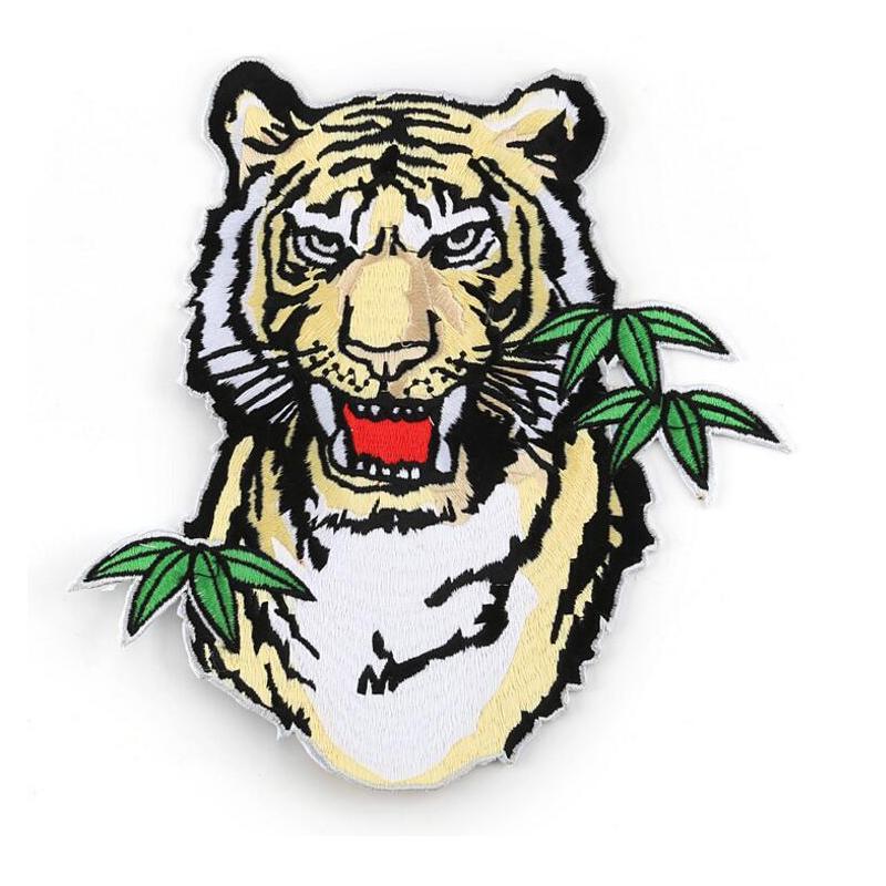 Plancha de parche de tamaño grande Tiger en parches personalizados Applique Patch Patch Toweling Patch Coser para ropa