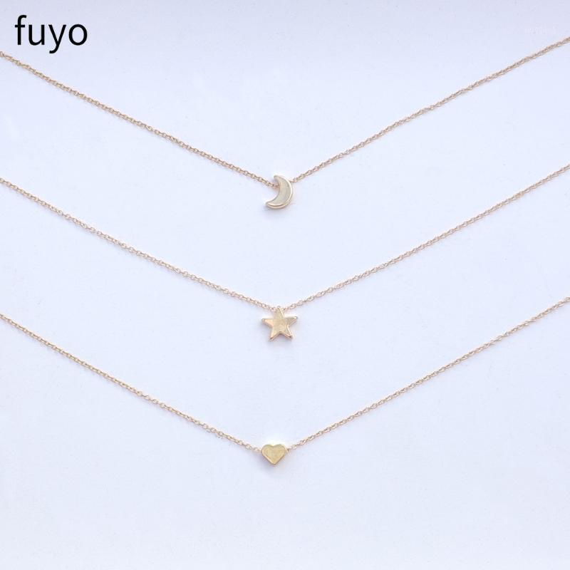 Fuyo 3 Pcs Simples Heart Moon Star Gargantilha Colares Bohemian Pingente Colar Para As Mulheres No Pescoço Bijoux Jóias Acessórios1
