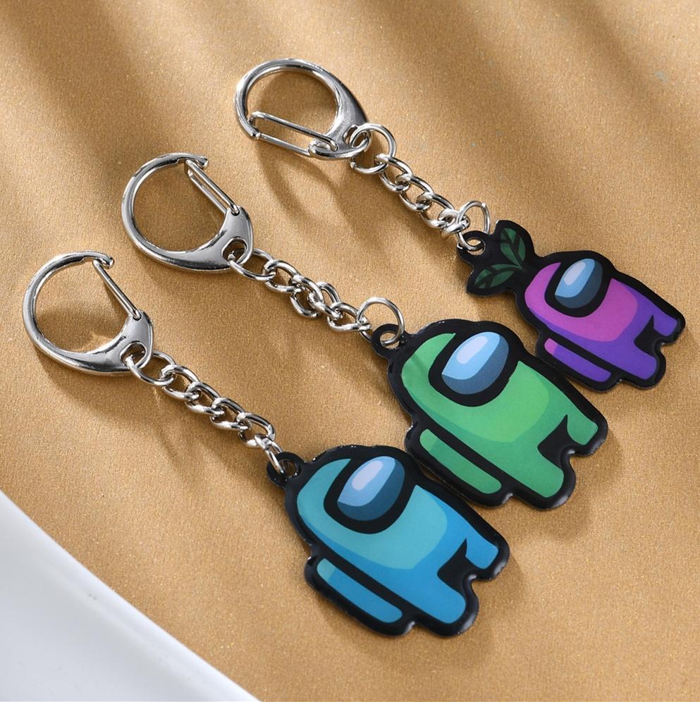 8 colori nuovi giochi tra noi portachiavi anime carino cartone animato acrilico portachiavi colorati portachiavi regalo portachiavi auto chiavi decorazione accessori E111905