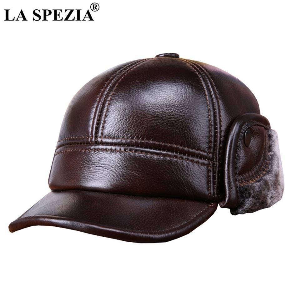 La Spezia зимние бейсбольные колпачки с мехом Earflaps мужчины подлинной коровьей кожи теплые толстые утка шляпа мужская роскошь коричневая кожаная шляпа J1225