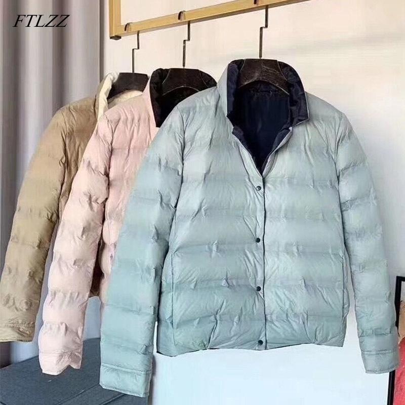 New Dupla Face Baixar Casaco De Inverno Mulheres Stand Colarinho Branco Duck Down Casaco Duplo Peito Quente Outwear Y201026