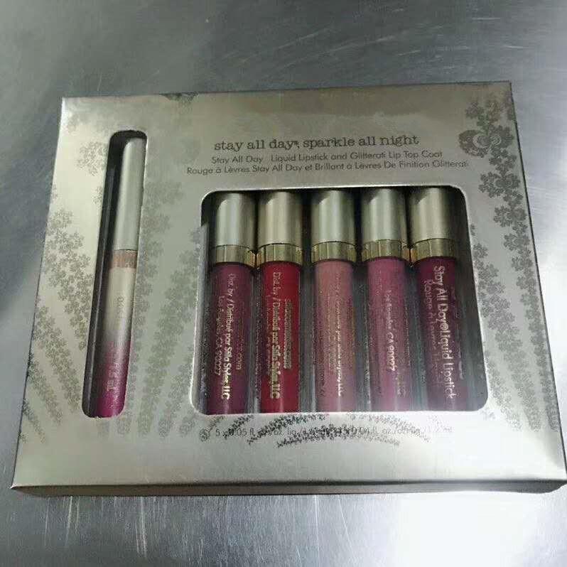DHL libero soggiorno tutto il giorno scintillare tutta la notte Liquid rossetto e glitter labbra top coat 6pcs / set in magazzino