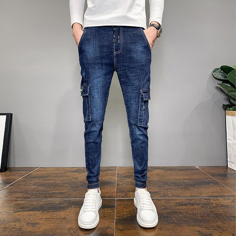 Erkek Kot Moda 2021 Kore Slim Fit Yan Cepler Denim Erkekler Giyim Basit Tüm Maç Katı Joggers Pantolon Mavi 36-28 Sale