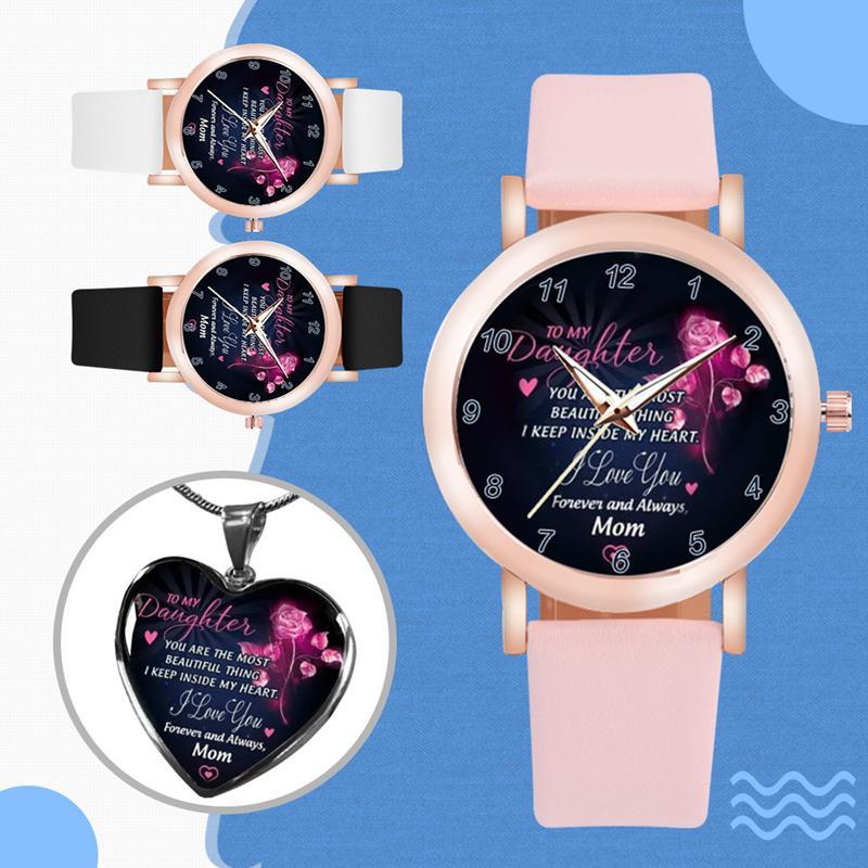Heißer Verkauf Prinzessin Liebhaber Uhren Schmuck 2 stücke Sets mit Halskette Tochter Geschenk Klassische Armbanduhr Hohe Quty Schmuck Paar Uhren