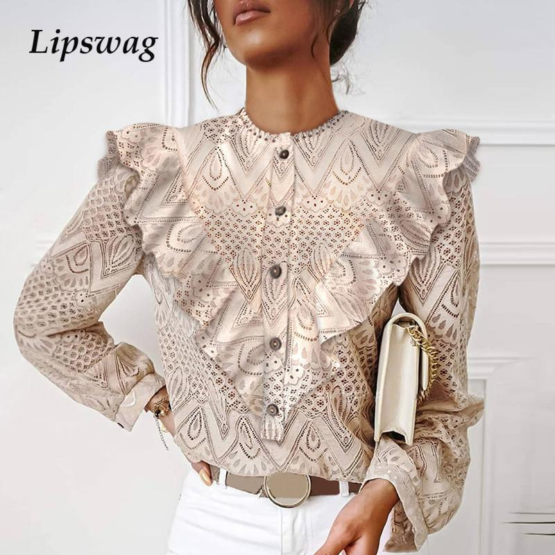 Women Vintage Lace Ruffles O Neck Blouse Shirts Autumn Elegant Hollow Out Pullover Office Ladies Casual Solid Color Tops Blusas