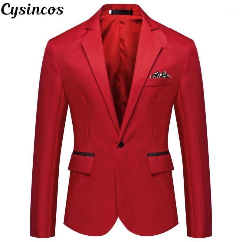 CYSINCOS 2020 Kalite Marka Erkekler Blazers erkek Smokin Örgün Durumlar Ceket Moda Ince Tek Düğme Blazer erkek İş Blazer1